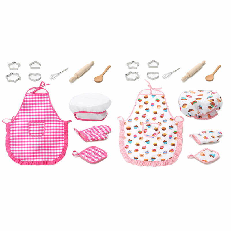 Hot Kids Cooking And Baking Set - 11Pcs Kitchen Costume Role Play Kits Apron Hat Funny Toy For Children