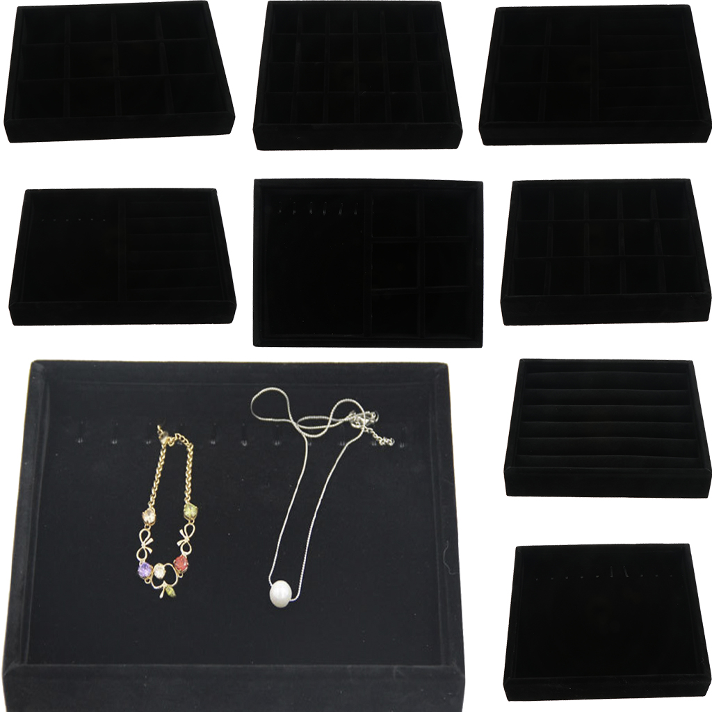 Black Velvet Drawer Jewlery Organizer Tray Display Necklace Earrings Showcase Multifunction Case