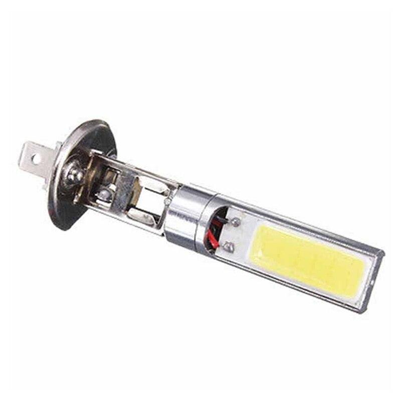 2 adet H1 COB LED araba DRL gündüz çalışan far ampul DC 12V oto far sis farları yüksek parlaklık beyaz lamba 6000K