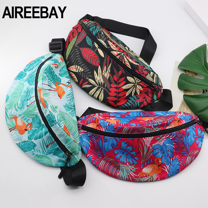 AIREEBAY Printed Leaf Women Waist Bags Large Capacity Canvas Fanny Pack With Zipper Female Casual Travel Banana Bags
