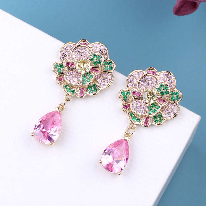 CocoANGEL Natural Color Zircon Stones Earrings Crystal Floral Shape Copper Drop Earring Silver Needle For Women Fashion Jewelry in Drop Earrings from Jewelry Accessories
