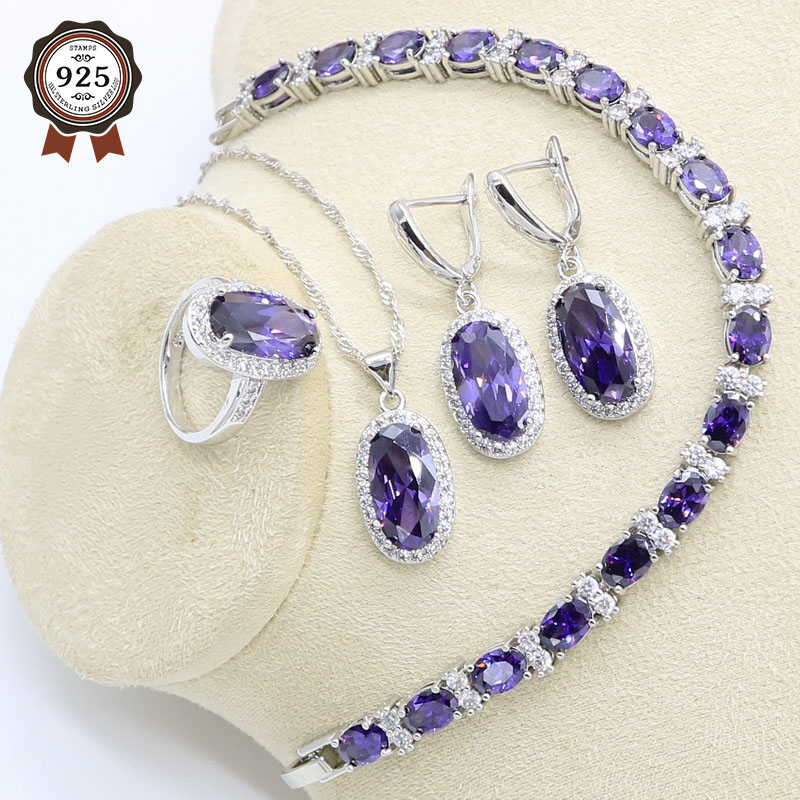 Jewelry-Set Necklace Bracelet Earrings Pendant Ring-Gift-Box Zircon 925-Silver Purple