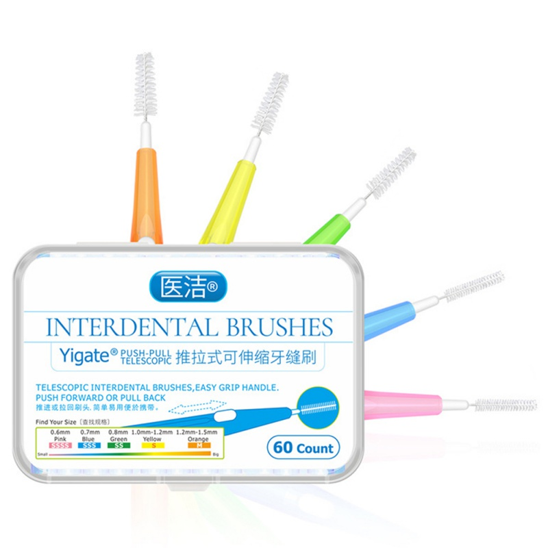60 Pcs/Pack Push-Pull Interdental Brush Gum Interdental Tooth Brush Orthodontic Wire Brush Toothbrush Oral Care Toothpick image