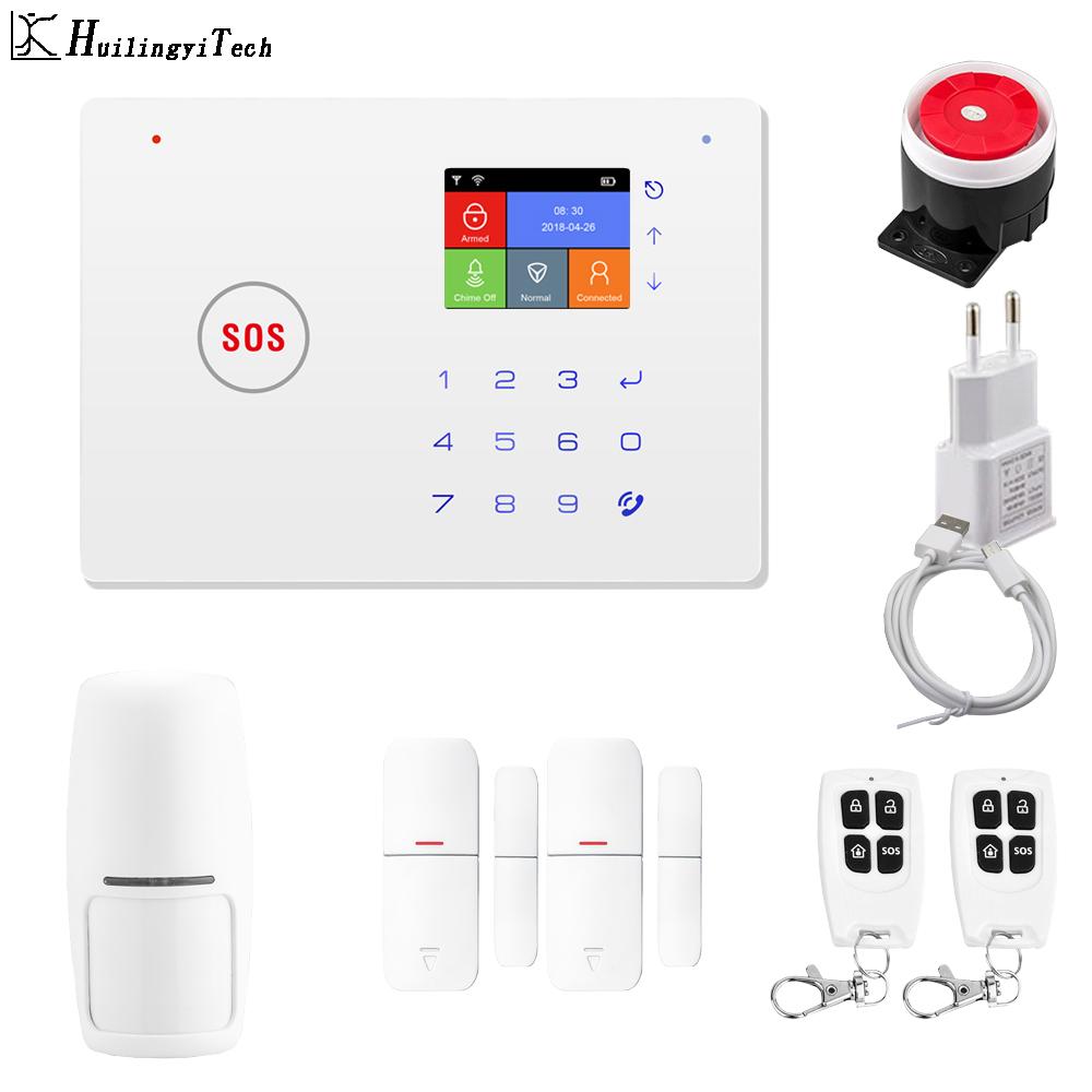 HuilingyiTech Security Home Aalrm System WiFi+GSM App Control Alarm Motion Sensor Door Sensor Alarm System Solar Driveway Alarm