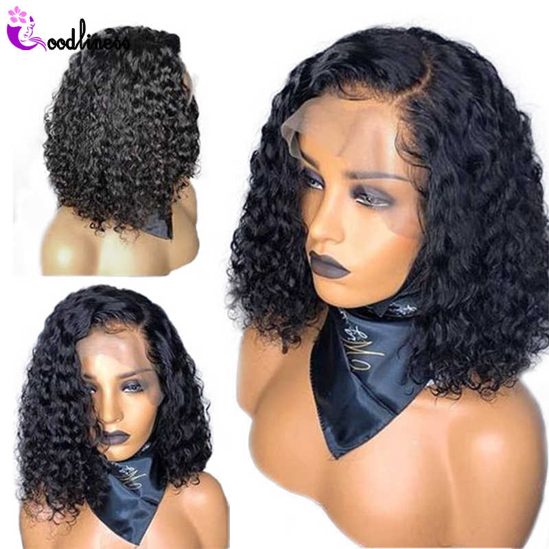 Malaysian Short Kinky Curly Bob Human Hair Wig 13x4 Lace Frontal Wigs Pre Plucked With Baby Hair Remy Natural Black Wig