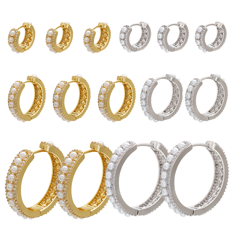 ZHUKOU 1 piece gold/silver color small pearl hoop earrings 2020 Fashion small/big Round pearl earrings for party Jewelry VE255