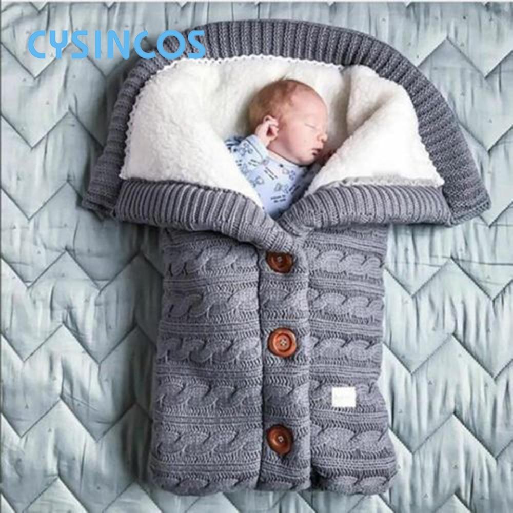 Baby Sleeping Bag Thicken Envelope Winter Kids Stroller Sleepsack Footmuff Knitted Sleep Sack Newborn Swaddle Knit Wool Slaapzak