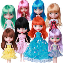 1/6 BJD Blyth Doll ICY Factory 4 Colors Eyes Change Makeup DIY Blyth Dolls Girl Gift Toys for Children Dress Shoes Bracket Free(China)