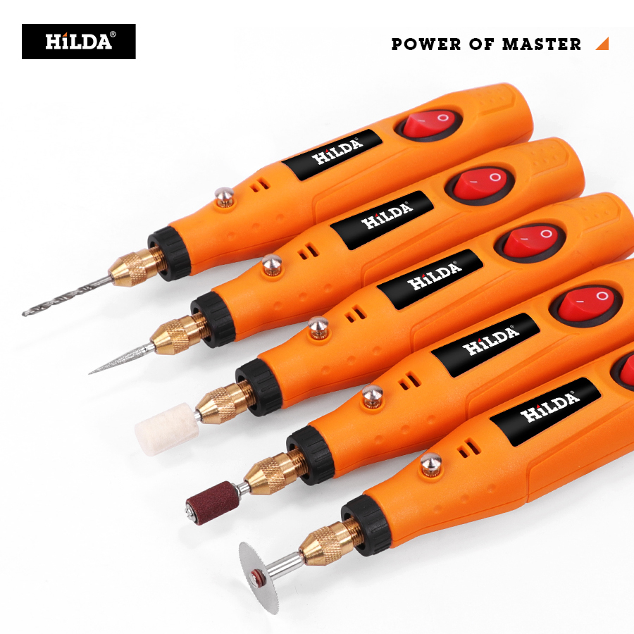 HILDA Mini Drill Rotary Tool 12V Engraving Pen With Grinding Accessories Set Multifunction Mini Engraving Pen For Dremel Tools