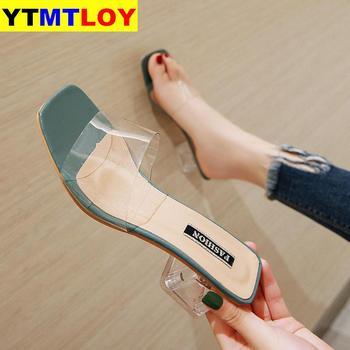 Clear Summer Sandals Women Shoes Women Mules Slides Peep Toe Transparent Square High Heels Female Shoe Casual  Square Heel
