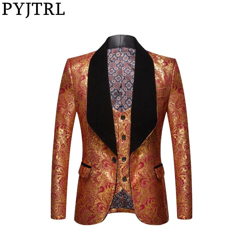 PYJTRL Jacket + Vest Mens Fashion Two-piece Set Gold Floral Pattern Print Shawl Lapel Slim Fit Wedding Prom Dress Tuxedo Costume 1