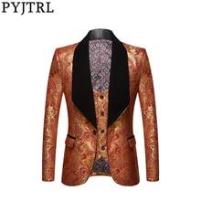 PYJTRL Jas + Vest Mens Fashion Twee delige Set Gouden Bloemen Patroon Print Shawl Revers Slim Fit Wedding Prom jurk Smoking Kostuum