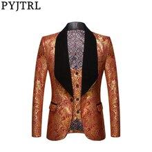 PYJTRL kurtka + kamizelka moda męska dwuczęściowy zestaw złota z kwiatowym wzorem wzór wydruku szal Lapel Slim Fit suknia na ślub i bal Tuxedo kostium