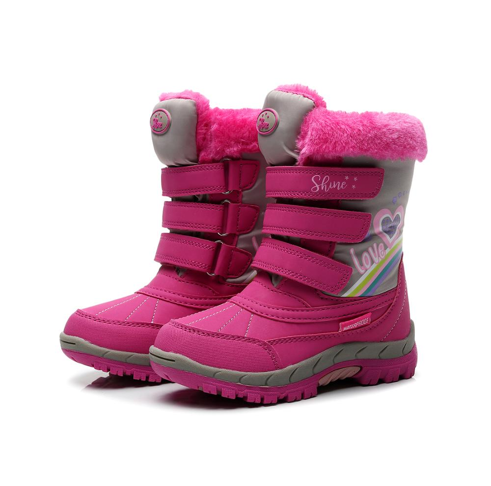Waterproof Baby Girls Snow Boots For -30 Degrees Winter Non-slip Female Shoes Super Warm Fashion Kids Boots With Wool Size 25-32