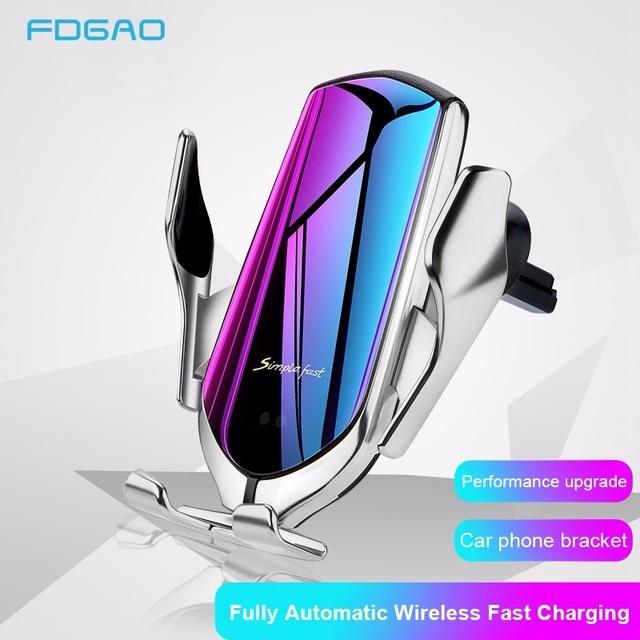 FDGAO 10W Qi Automatische Draadloze Autolader Voor Samsung S10 S9 S8 iPhone 11 X XS XR 8 Infrarood sensor Snelle Opladen Telefoon Houder
