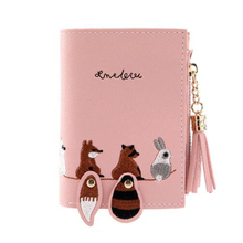Womens tassel short wallet mini zipper 2 fold folding coin purse card bag cute cartoon animal small womens embroidered line pu leather