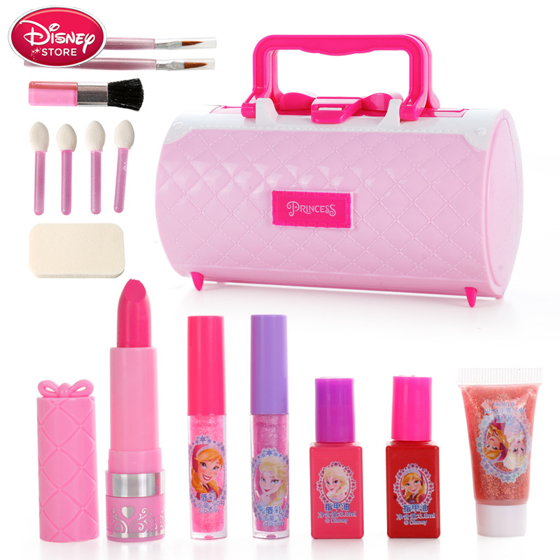 Disney Makeup Little Girls Princess Frozen Elsa Anna Snow White Safety Non-toxic Lipstick Set Cosmetic Makeup Kids Toys Gift