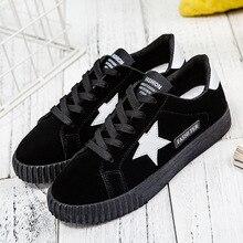 Platform Black Sneakers Womens Flat Casual Shoes