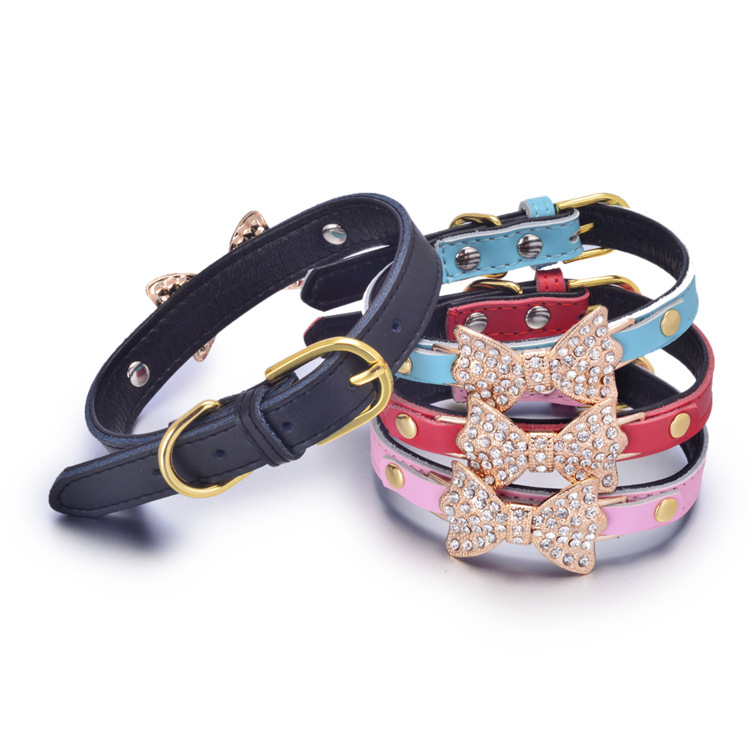 Genuine Leather Pet Collar Diamond Set Golden Butterfly Dog Neck Ring Comfortable Underlay Bag Cow Leather Collar Pet Supplies