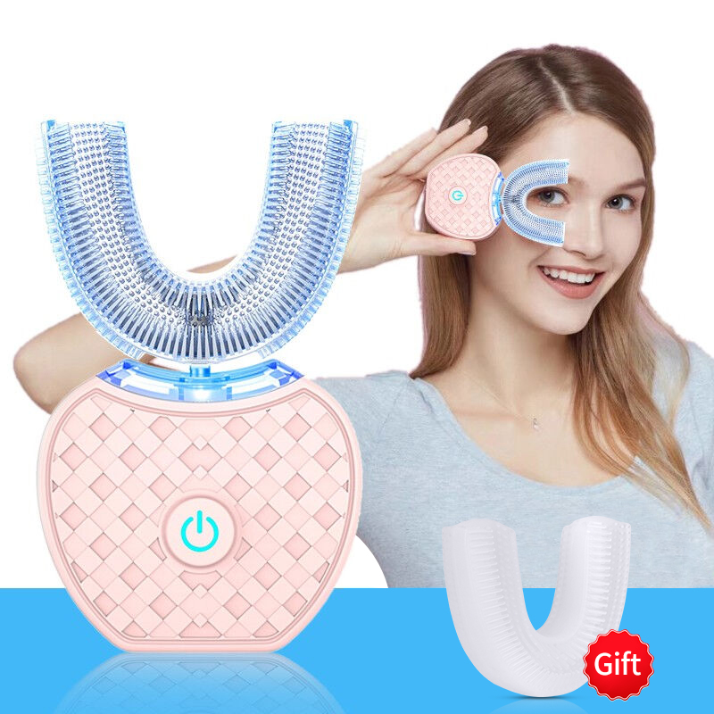 360 Degree Automatic Electric Toothbrush Rechargeable Sonic Dental Toothbrush USB Silicone Brush Heads Oral Care Smart U Type