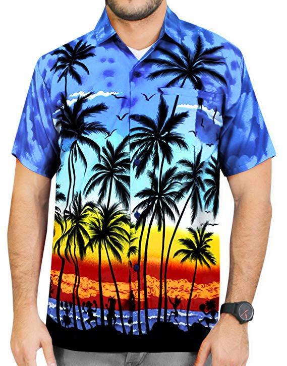 New Hawaiian Shirts Mens Printed Turn Down Collar Casual Shirts Fashion Printing Short Sleeve Blouses Button Shirts Beachwear