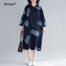 long sleeve cotton plus size vintage Polka Dot hooded women casual loose autumn dress elegant clothes 2019 ladies dresses(China)
