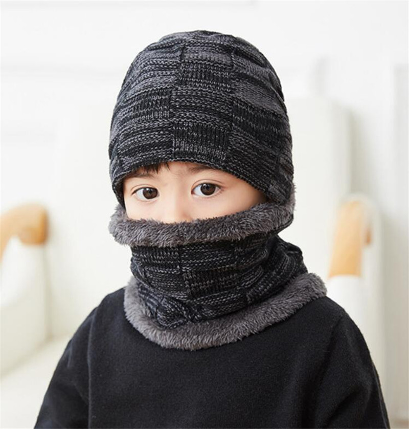Child Winter Knit Hat Scarf Set Boy Girls Plush Hat And Ring Scarves 2 Piece Sets Kids Fashion Outdoor Warm Ski Cap