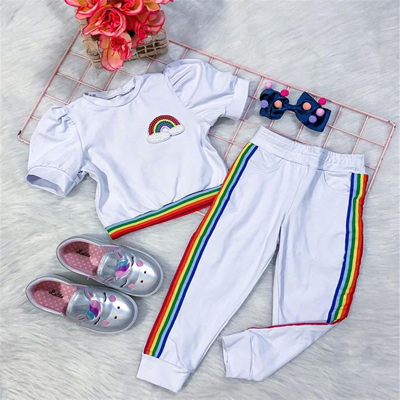 2020 Summer Children Girls Clothing Toddler Baby Girls Rainbow Striped Print T-shirts Tops+Long Pants Leggings Tracksuits Suits