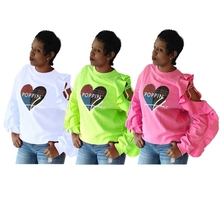 Letter Heart Printed Tshirt For Women Long Sleeve Ruffles Hole Off Shoulder Ribbons Lace Up Tee Casual Loose Pullover O Neck letter embroidery lace up tee