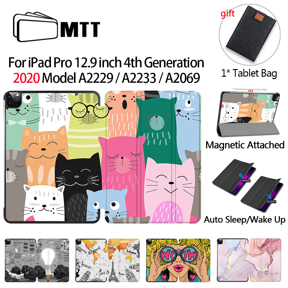 MTT Case For iPad Pro 12 9 inch 4th Gen 2020 PU Leather Flip Stand Smart