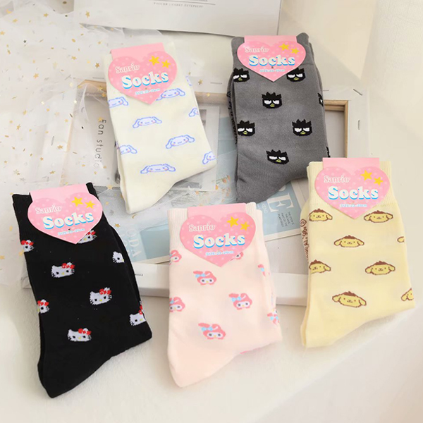 Hello Kitty My Melody Cinnamoroll PomPomPurin Socks Women Autumn Cartoon Cotton Socks For Girls Children Christmas Gift Dropship