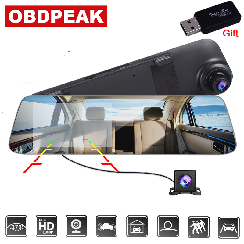 Car-Dvr-Camera Rearview-Mirror DVRS Dash-Cam Auto-Recorder Dual-Lens Full-Hd 1080P White