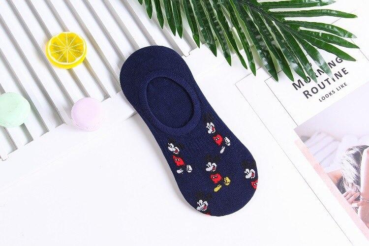 Disney Men's Boat Socks Fashion Cartoon Mickey Simple Shallow Mouth Socks Wild Invisible Socks 4