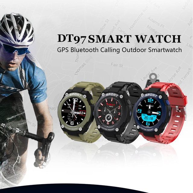 dt97 Smart Watch Men with Gps Outdoor sports Bluetooth Heart Rate Fitness Tracker Dial Call Smartwatch TF Card For Android Ios
