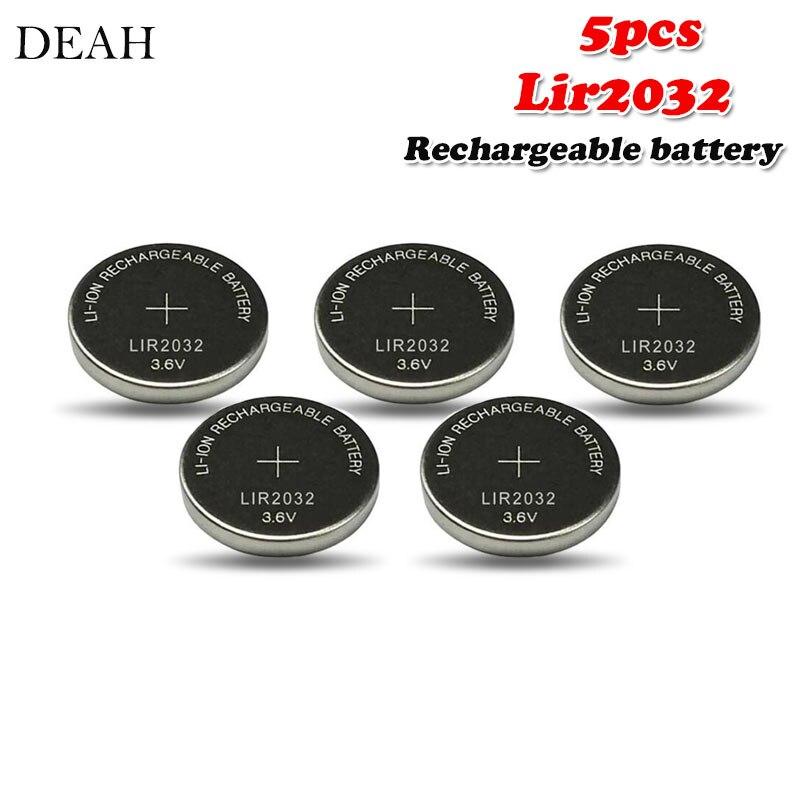 5 pièces 3.6V 40mah LIR2032 LIR 2032 lithium batterie rechargeable pour télécommande montre ordinateur carte mère bouton cellule CR2032