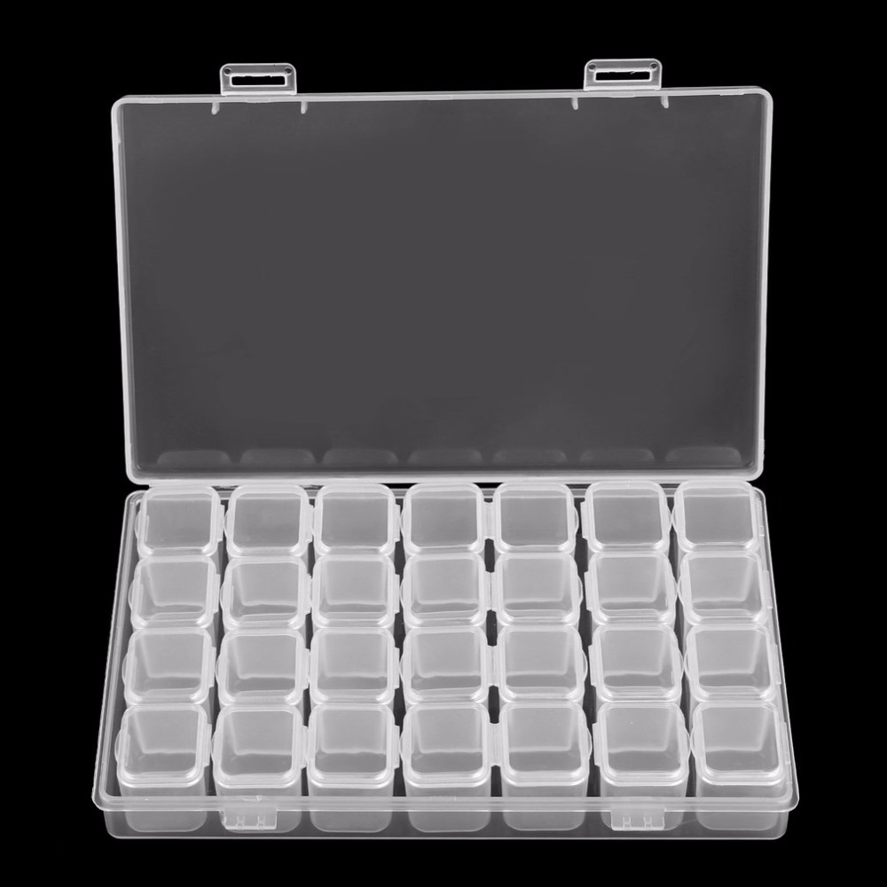28 Slots Clear Plastic Empty Storage Box For Nail Art Manicure Tools Jewelry Beads Display Storage Case Organizer Holder Z505
