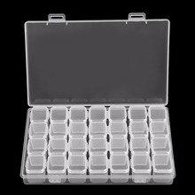 28 ranuras de plástico transparente caja de almacenamiento vacía para uñas herramientas de manicura joyería cuentas de almacenamiento organizador soporte Z505
