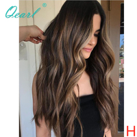 Lace Front Human Hair Wigs PrePlucked Ombre Highlights Color Remy Wig for Black Women 13x4/13x6 Wavy 130% 150% Center Part Qearl