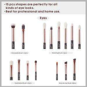 Image 4 - Кисть для макияжа Jessup, розовая/Золотая/черная, кисти для теней, кисти для макияжа, подводка для глаз, тени из натуральных синтетических волос