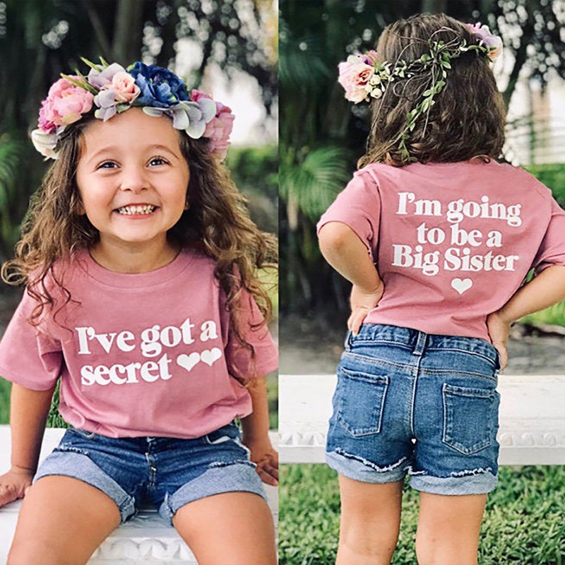 Summer Toddler Girls Short Sleeve Tees I'm Going To Be A Big Sister Printed Cotton Tops ForKids Girls Funny T-Shirts Clothes