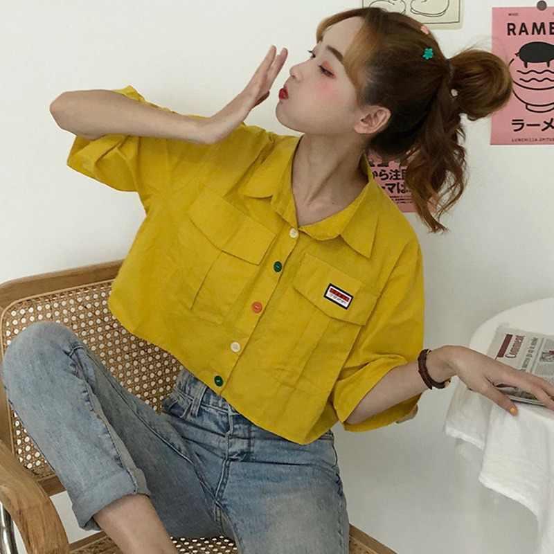 Kadın ShirtHarajuku kısa kollu Polo yaka rahat pamuk tiki üst kızlar moda mektubu nakış Blusas Femininas