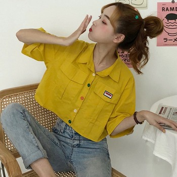 Women's ShirtHarajuku Short Sleeve Polo Collar Casual Cotton Preppy Top Girls Fashion Letter Embroidery Blusas Femininas 10