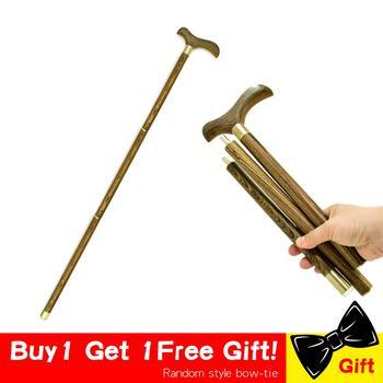 3-Sections Wood Cane Wooden Walking Stick T Bird Handle Stick Foldable Vintage Wood Gentle  Walking Cane Gentleman Stick Canes