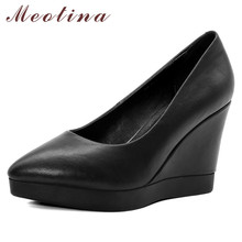 Meotina High Heels Women Pumps Natural Genuine Leather Wedges High Heel Shoes Real Leather Pointed Toe Shoes Ladies Black 34-39 ladies real genuine leather high heel shoes women brand sexy pointed toe heels fashion pumps lady heeled shoes size 34 39 r08358 page 3