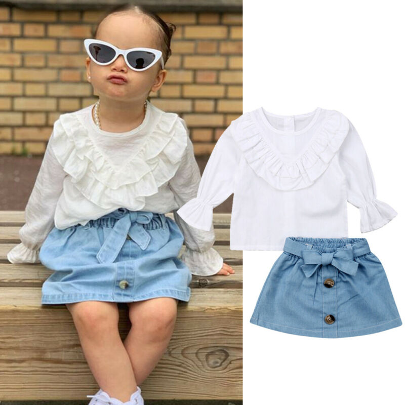 Denim Skirts Long Sleeve Outfits 2Pcs Set Kids Baby Girls Ruffled Blouse Tops