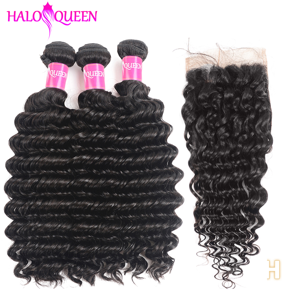 HALOQUEEN Deep Wave Bundles With Closure Non-Remy Brazilian Hair Weave Bundles With Closure Human Hair 3 Bundles With Closure