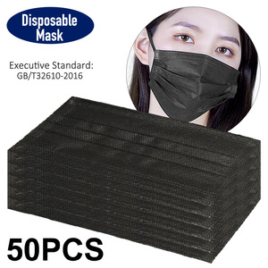 Image 2 - Disposable Black Face Mask Protective Masks Anti Dust Particles for Work Outdoor Non woven Fabric Earloop Mouth Masks Reusable