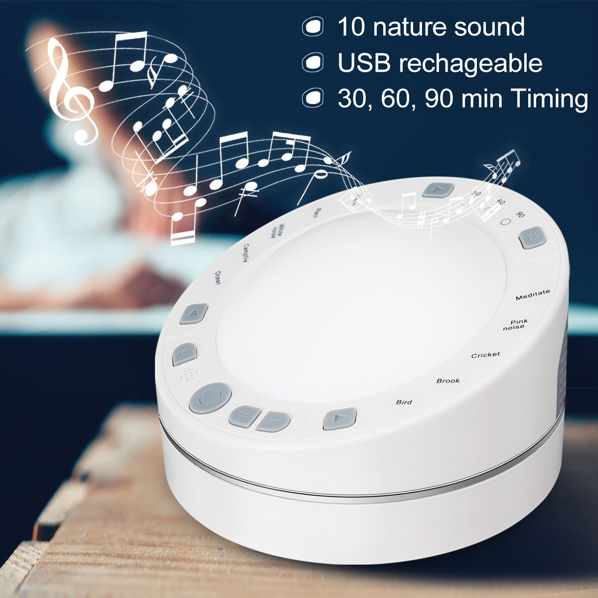 White Noise Machine Sound Machine Noise Sleep Instrument 10 Nature Sound Therapy USB Battery Powered For Sleeping Relaxation
