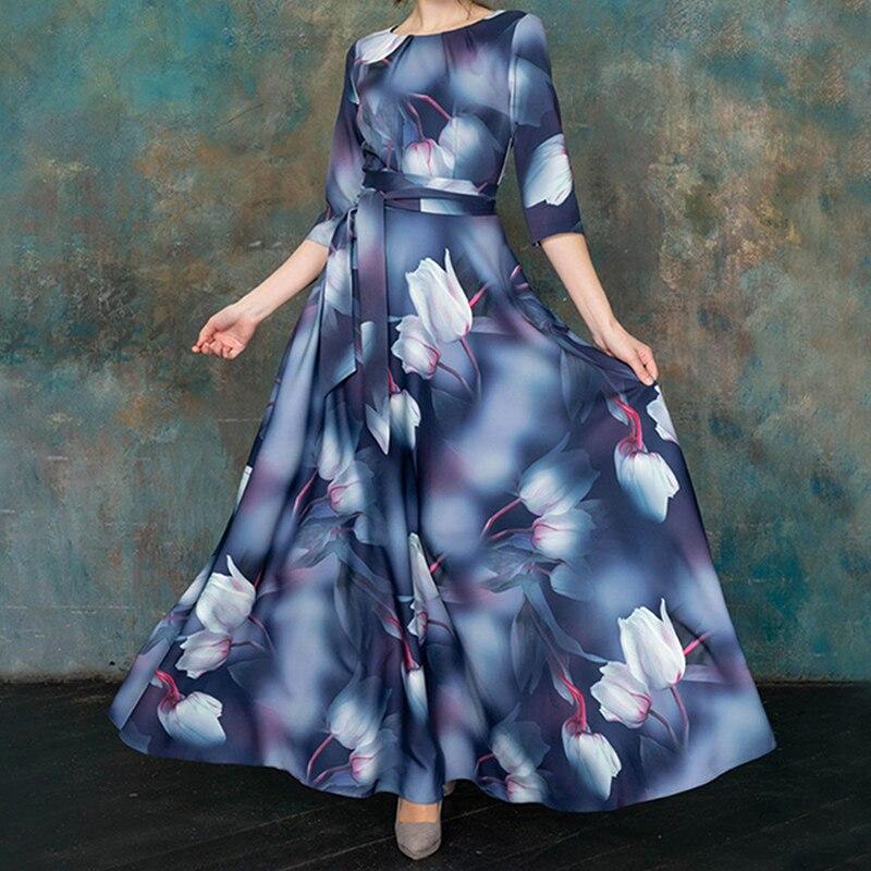 Siskakia Elegant Ladies Party Dresses Spring 2020 New Floral Printed High Waist A Line Swing Maxi Dress Fashion Sash 3/4 Sleeve