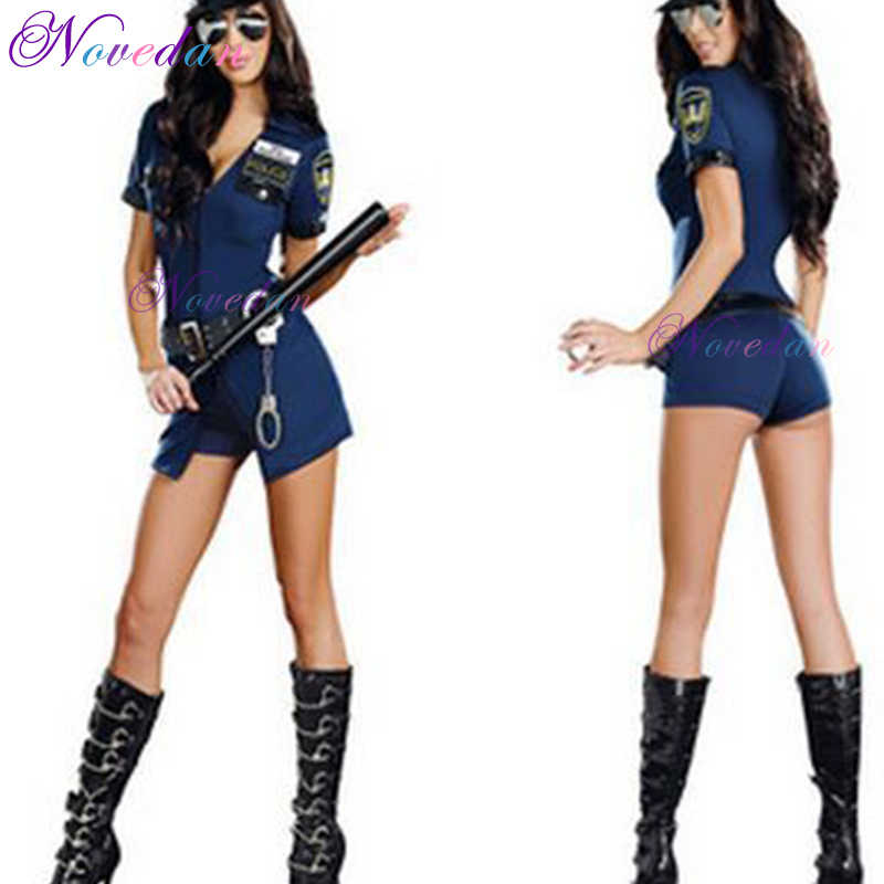Novedan Female Police Officer Cosplay  Clothing Short Sleeve V-neck Built-in Shorts Dress with Hat Sexy Clothing